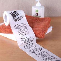 Auf dem Klo was zu lachen - mit dem Witze Toilettenpapier. Die etwas kuriose Geschenkidee http://ohphoria.de/Geschenkideen/witze-toilettenpapier/