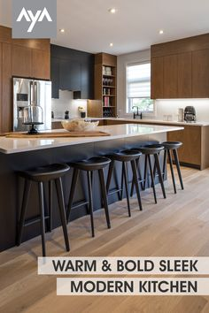 This open kitchen in AyA's warm rich Manhattan Rye Walnut doors paired with Kensington Pitch Black creates a bold but sleek aesthetic. A duo-tone kitchen space with a color palette and design sense that carries throughout with attention to detail. Visit ayakitchens.com and view our gallery and wide selection of door styles and finishes. Walnut Kitchen Cabinets, Cupboards, Kitchen Cabinet Color Schemes, Kitchen Cabinet Manufacturers, Charleston House, Walnut Doors, Duo Tone, Professional Kitchen, Open Kitchen