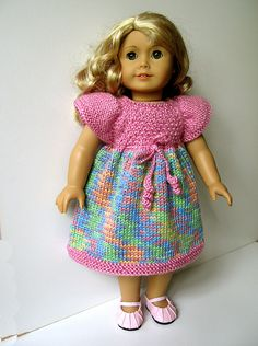 Knitted dress for AG Doll..... I just love the colors.