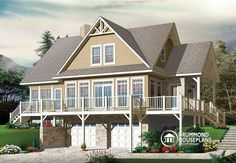 W3914-v2 - 4 Bedroom Lakefront Cottage-style House Plan With Solarium, 2-car…