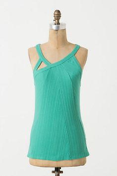 """Triad Slice Tank in Aqua (from Anthropologie) [goes with """"Here in My Carnival Skirt (from Modcloth)"""" and """"Colorful Wedge Platform Sandals""""]"""