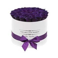 medium round box - white - dark purple ETERNITY roses purple eternity roses - the million roses Dark Purple Roses, Deep Purple, The Million Roses, Personalized Gift Cards, Box Roses, Preserved Roses, Rose Arrangements, Luxury Flowers, White Box