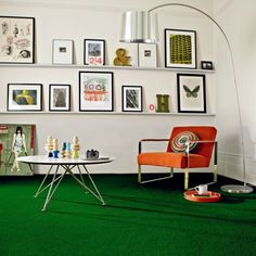 cool green carpet living room design