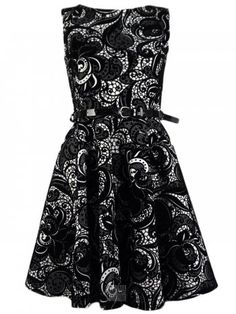 KarmaClothing Black and White Belted Floral Flock Skater Dress