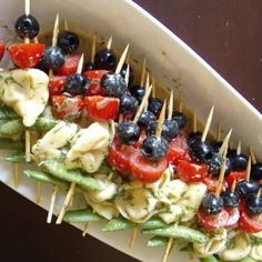 Easy Salad Skewers with Lemon Dill Vinaigrette using The Olive Tap's Sicilian Lemon Balsamic Vinegar. Great for summer parties!