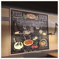 """34 Likes, 5 Comments - 3sz chalkart/わかい みすず (@chalkart3sz) on Instagram: """"Pizza Ricceta 埼玉県 与野 イタリアン&ワインバーCONA様にて。 い、、、イタリア語なんだよ #chalkart #italian #illustrato…"""""""