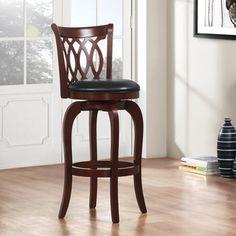 TRIBECCA HOME Verona Cherry Scroll-back Swivel 29-inch Barstool