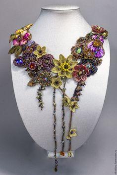 Купить Florilegium - комбинированный, Сваровски, ручная авторская работа, бисер, сваровски кристаллы