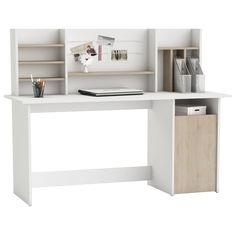 Alanya modern wooden computer desk in brushed oak and pearl white with 1 door and shelving perfect solution for your home office - 28456 home & office computer desk table, modern & contemporary. Computer Shelf, Office Computer Desk, White Furniture, Home Office Furniture, Study Table Designs, Decoration Gris, Wooden Desk, Writing Desk, Table Desk