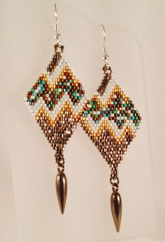 Diamond Shaped Dangle Earrings with Pulse Design by Calisi on Etsy