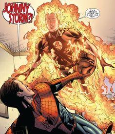 Johnny Storm visits Spider-Man in Amazing Spider-Man #700.5