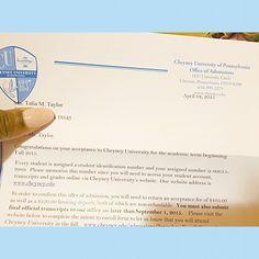 TaliaS Acceptance Letter To Cabrini College  Student