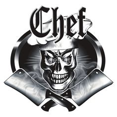 Chef Skull and Smoking Crossed Cleavers 3.1 - Available on t-shirts, hoodies, phone cases, posters, and more, at RedBubble.
