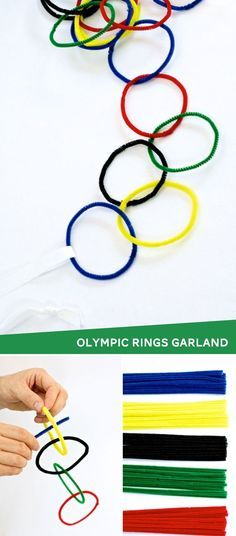 Decoration for Summer Olympics Pipe Cleaner Olympic Rings Garland Chain #olympics #olympicrings