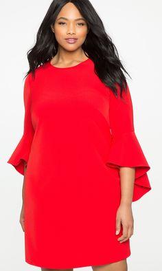Plus Size Valentine's Day Dress - Plus Size Flounce Sleeve Shift Dress