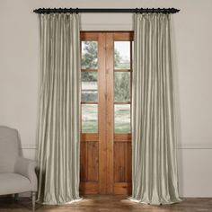 Lincoln Solid Thermal Cotton Silk Tab Top Single Curtain Panel