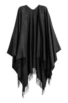 Tkaninowe ponczo z frędzlami - Czarny - ONA | H&M PL 1
