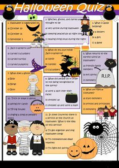 A collection of English ESL worksheets for home learning, online practice, distance learning and English classes to teach about halloween, quiz, halloween quiz Halloween Worksheets, Halloween Activities For Kids, Halloween Games, Holidays Halloween, Halloween Crafts, Fun Activities, Halloween Party, Halloween Stories For Kids, Halloween Board Game