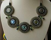 "Necklace ""Atlantida"" ,Bead embroidery necklace, Mother of pearl"