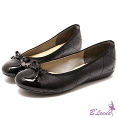 BLenna甜美微奢漆皮蝴蝶結菱格娃娃鞋*性感黑