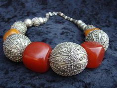 Large Ethiopian silver beads with African copal  by familyonbikes, $425.00
