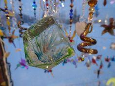Glow in the Dark Glass Suncatcher, Rear View Mirror Ornament Sparkling Crystal Beads
