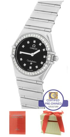 Ladies Omega Constellation Mini 22.5mm Black My Choice Diamond 1465.51.00 Watch