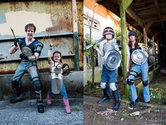 Post Apocalyptic Zombie Slaying Family.....  Awesome, the dad makes and sells his armor on Etsy