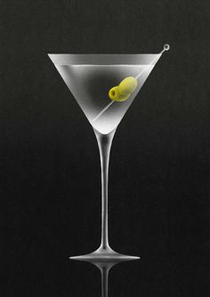 Stock Illustration : Olives in martini cocktail glass