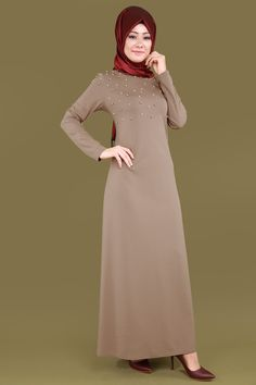 İncili Tesettür Elbise Vizon Ürün kodu: 59.90 TL