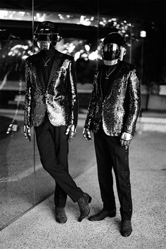 French music duo Daft Punk captured by the lens of Mathieu César and styled with pieces from Saint Laurent for CR Fashion Book.