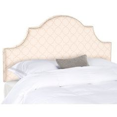 Safavieh Hallmar Pale Pink/ Beige Upholstered Arched Headboard - Silver Nailhead (King) | Overstock.com Shopping - The Best Deals on Headboards