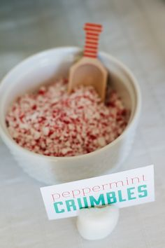 peppermint crumbles at Sucre Shop's hot chocolate bar