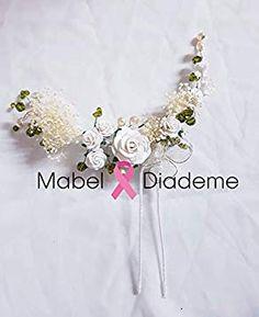 5139f8587 Mabel Diademe tocados bodas novia flor blanca accesorio pelo novias perlas  cristal verde eventos festival comunion