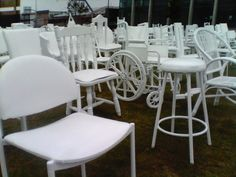 The white chairs temporary memorial in Christchurch city, NZ. Commemorating the 185 people who died in the 22 Feb 2011 earthquakes.