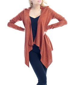 Loving this Rust Epaulet Long-Sleeve Sidetail Open Cardigan on #zulily! #zulilyfinds
