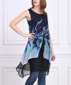 Black & Blue Abstract Sleeveless Layered Tunic