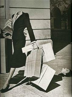 """""""Surreal Shopper"""" photograph by Herbert Matter, Harper's Bazaar 1939."""