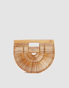 Cult Gaia Small Gaia's Ark Small iconic wooden tote from GULT GAIA. Inspired by a traditional Japanese picnic bag. Picnic Bag, Gadget Gifts, Beauty Supply, Gaia, My Bags, Women's Accessories, Gifts For Her, Carving, Blue And White