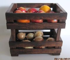 Wooden Crate Stackable Fruit or Vegie Holder. $45.00, via Etsy.    would like to hang on kitchen wall