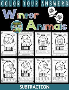 Winter Math: Winter Fun! The Mitten Winter Animals Subtraction Facts - Color Your Answers Printables for Winter Subtraction, perfect for winter time in your classroom. A perfect way to incorporate your math lesson into your thematic unit when you are reading Jan Brett's The Mitten. EIGHT worksheets and all EIGHT answer keys! #TpT #FernSmithsClassroomIdeas #TheMitten $paid