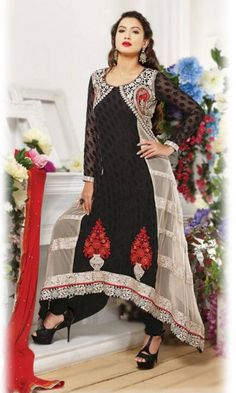 Buy #Black and OffWhite #Anarkali Salwar Suit at Discounted Prices - SUEMS1604