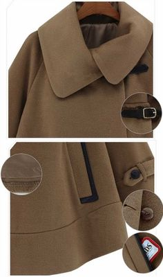 Turn Down Collar Cape Trench Coat for Women Brown - BuyTrends.com