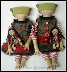 inspiration - frog doll with a doll by Lena Klinova