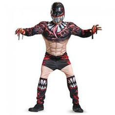 Nobody will want to mess with this look. The WWE Finn Balor Classic Muscle Child Costume includes a jumpsuit with muscle torso and arms, and character mask. Does not include shoes. This is an officially licensed WWE costume. Wwe Costumes, Wrestling Costumes, Dress Up Costumes, Cool Costumes, Costume Ideas, Fancy Dress Up, Halloween Fancy Dress, Halloween Kids, Halloween Makeup