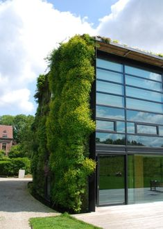 simple curtain wall with vertical/roof garden design by Patrick Blanc