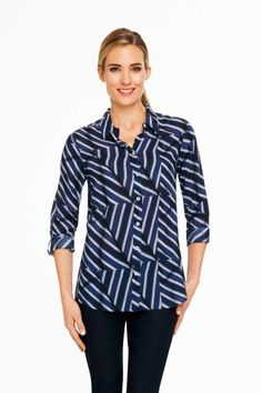 Foxcroft Patchwork Stripe Blouse | Foxcroft Clothing