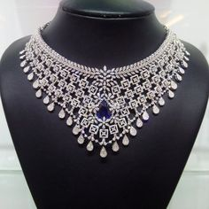 Diamond Choker With Sapphire Stones, Necklace Designs With Diamonds and Sapphire Stones.