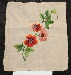 Magnificant Hand Made Victorian Embroidery of Poppies in