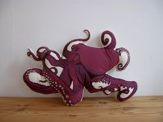 """""""Put your arms around me, honey, hold me tight ... """"  Plush Octopus Pillow by shannonbroder on Etsy, $40.00"""